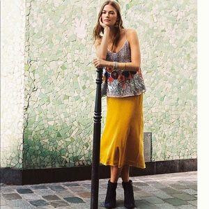 Anthropologie Velvety Yellow Skirt x Maeve
